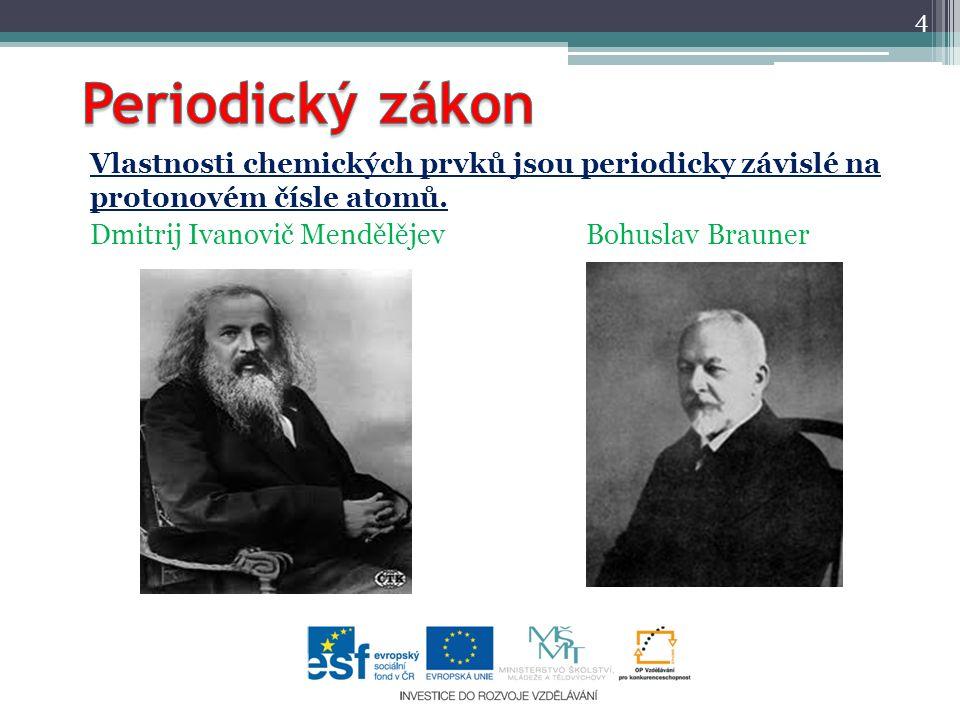 Periodický zákon Vlastnosti chemických prvků jsou periodicky závislé na protonovém čísle atomů.