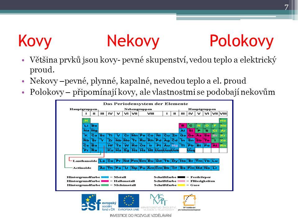 Kovy Nekovy Polokovy Většina prvků jsou kovy- pevné skupenství, vedou teplo a elektrický proud.
