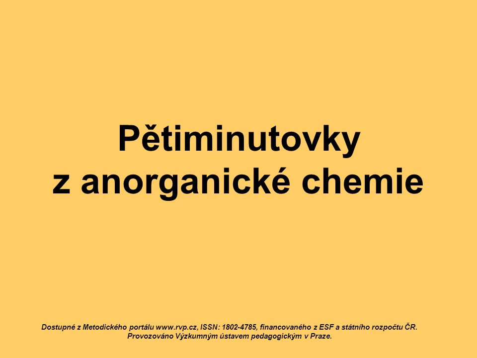 Pětiminutovky z anorganické chemie