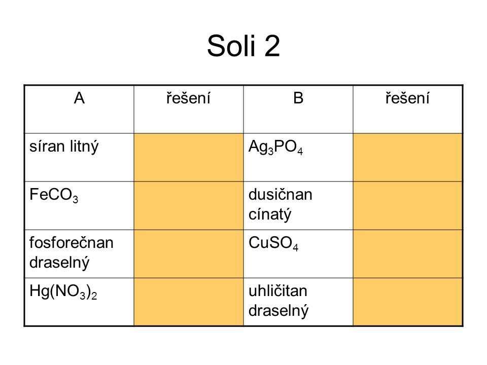 Soli 2 A řešení B síran litný Li2SO4 Ag3PO4 fosforečnan stříbrný FeCO3