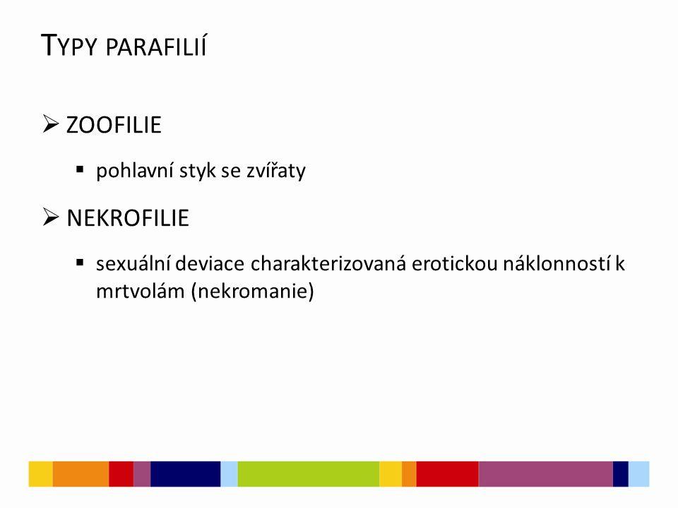 Typy parafilií ZOOFILIE NEKROFILIE pohlavní styk se zvířaty