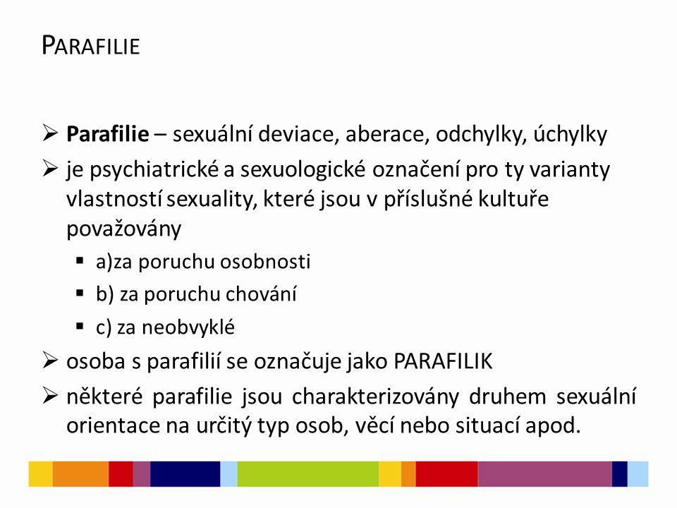 Parafilie Parafilie – sexuální deviace, aberace, odchylky, úchylky