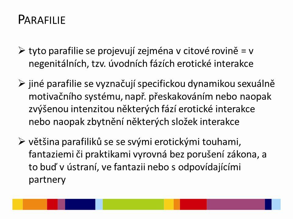 Parafilie tyto parafilie se projevují zejména v citové rovině = v negenitálních, tzv. úvodních fázích erotické interakce.