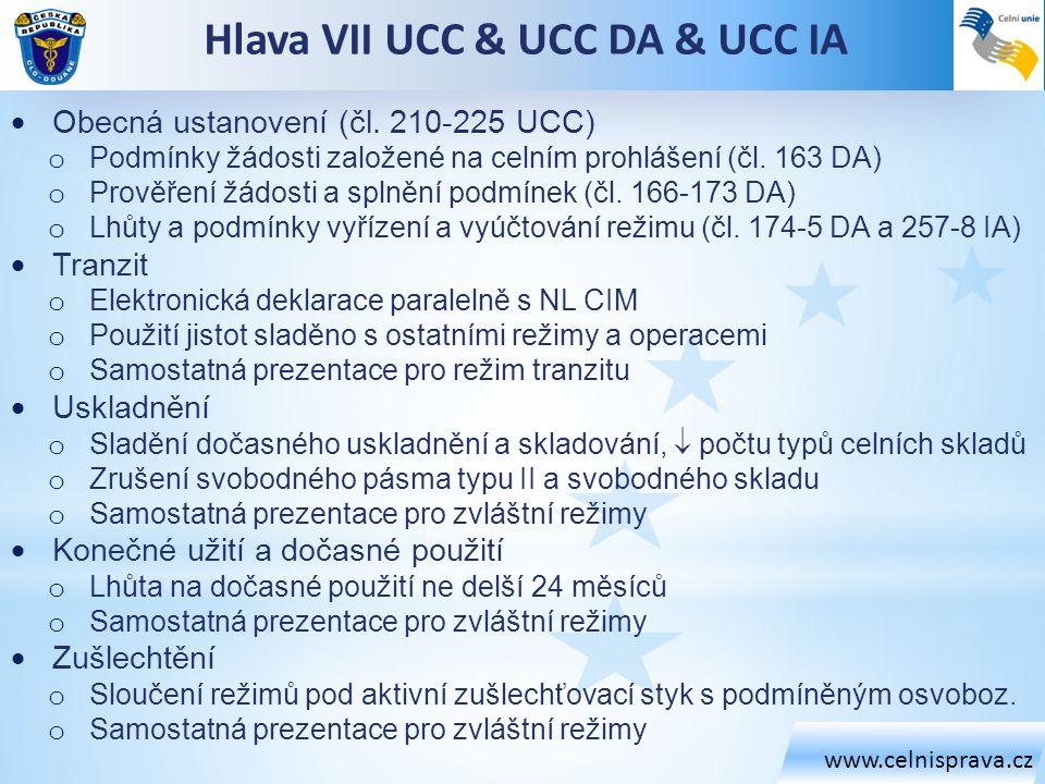 Hlava VII UCC & UCC DA & UCC IA