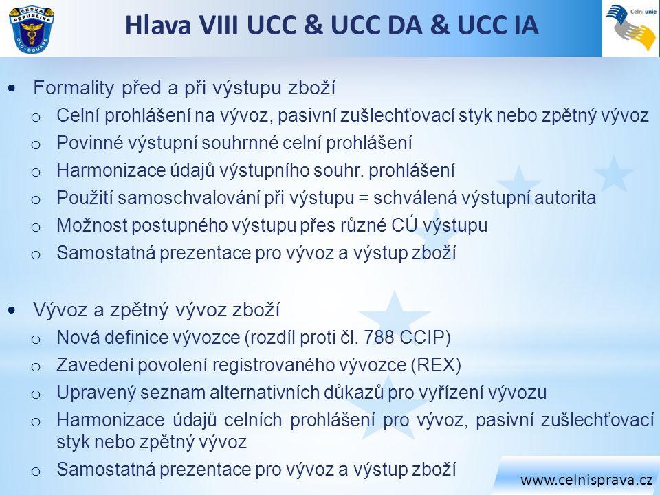 Hlava VIII UCC & UCC DA & UCC IA