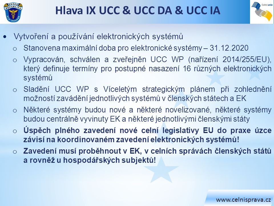 Hlava IX UCC & UCC DA & UCC IA