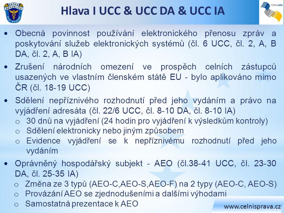 Hlava I UCC & UCC DA & UCC IA
