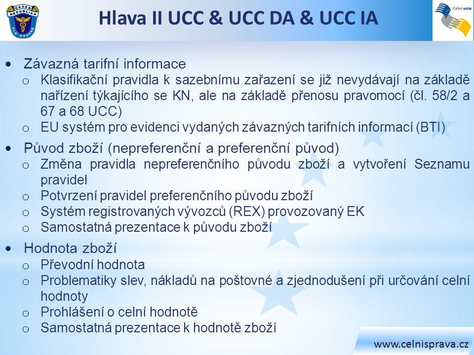 Hlava II UCC & UCC DA & UCC IA