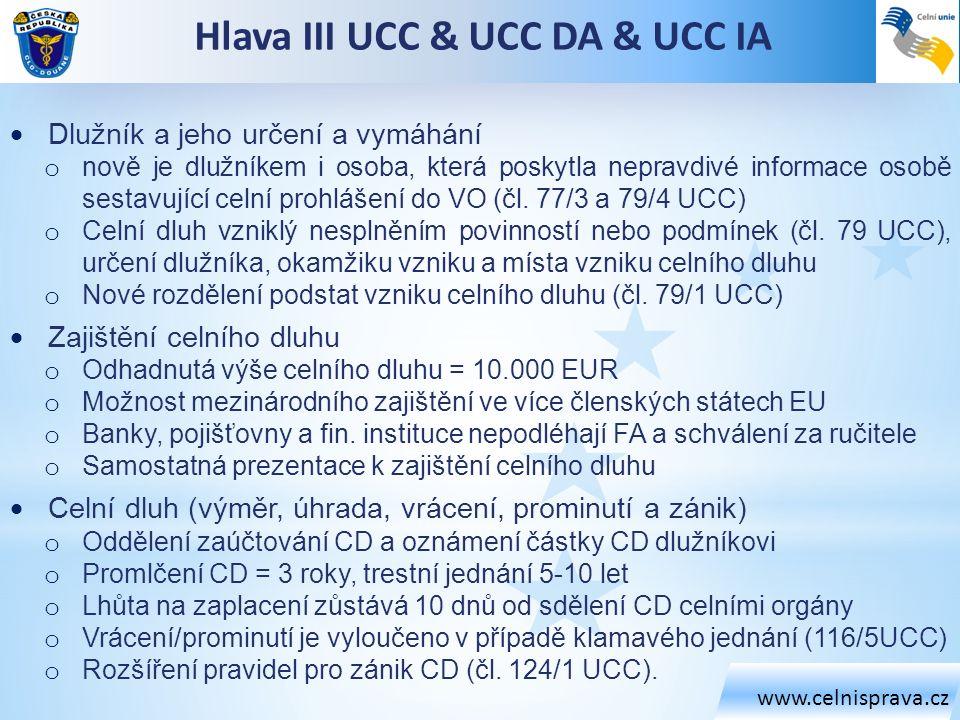 Hlava III UCC & UCC DA & UCC IA