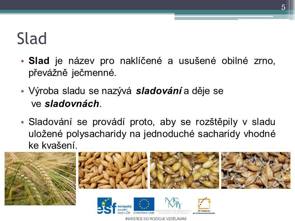 Slad Slad je název pro naklíčené a usušené obilné zrno, převážně ječmenné. Výroba sladu se nazývá sladování a děje se.
