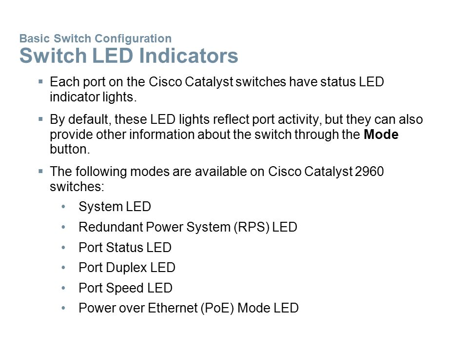 Basic Switch Configuration Switch LED Indicators