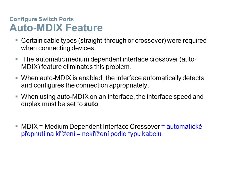Configure Switch Ports Auto-MDIX Feature