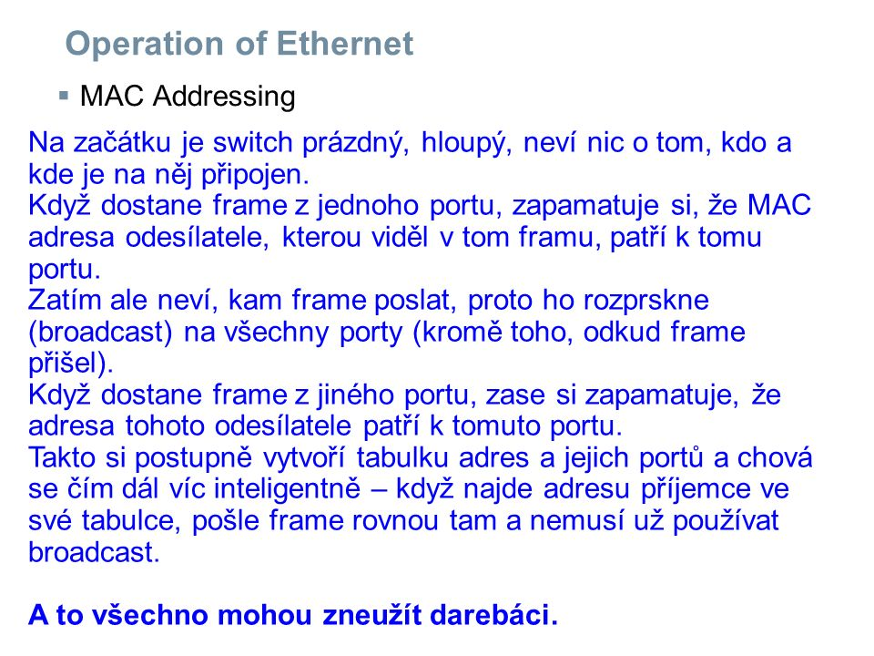 Operation of Ethernet MAC Addressing