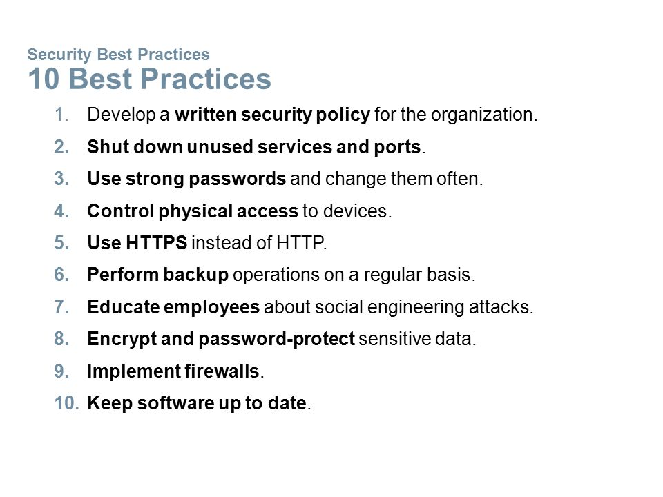 Security Best Practices 10 Best Practices