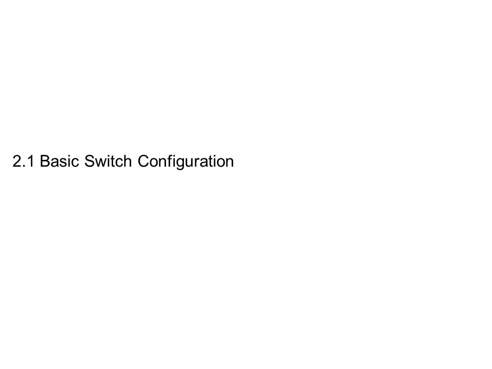 2.1 Basic Switch Configuration