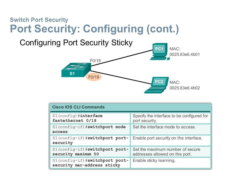Switch Port Security Port Security: Configuring (cont.)