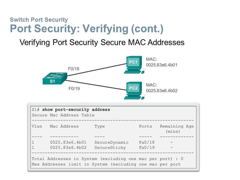 Switch Port Security Port Security: Verifying (cont.)