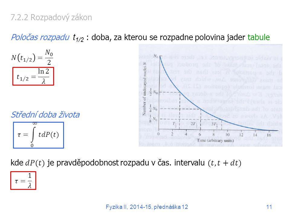 kde 𝑑𝑃(𝑡) je pravděpodobnost rozpadu v čas. intervalu (𝑡, 𝑡+𝑑𝑡)