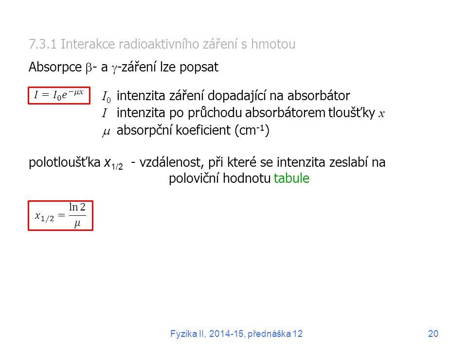 7.3.1 Interakce radioaktivního záření s hmotou
