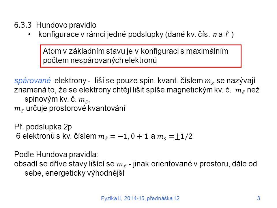 konfigurace v rámci jedné podslupky (dané kv. čís. n a ℓ )