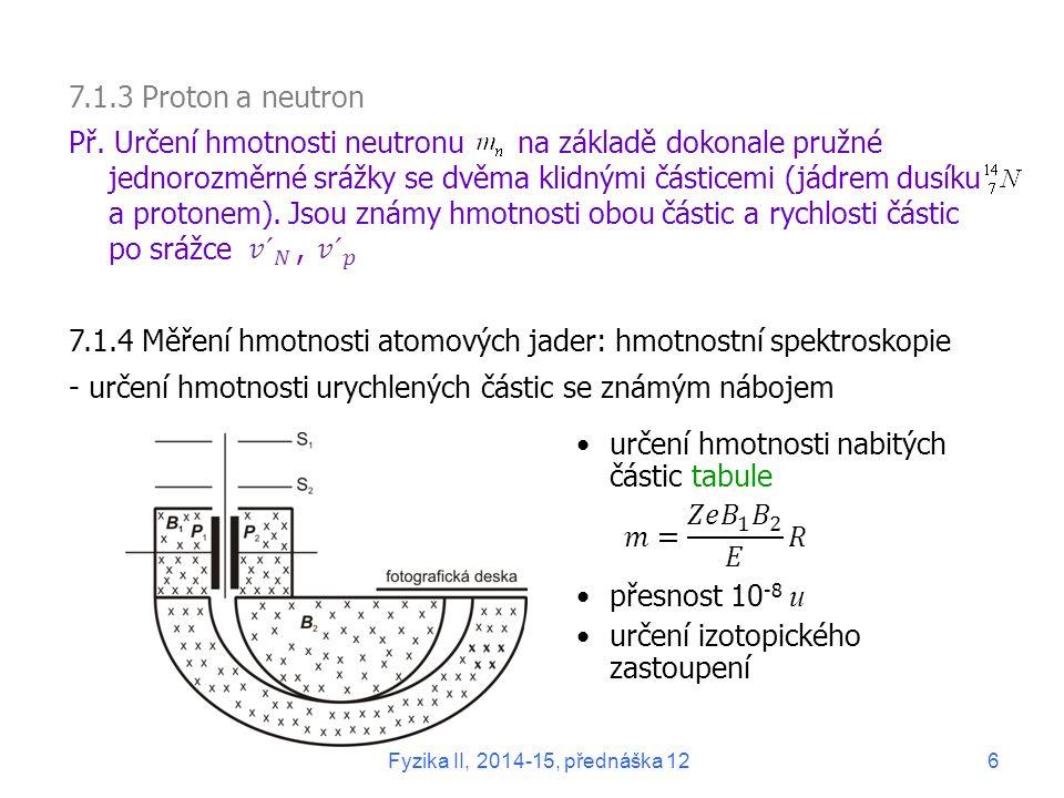 7.1.4 Měření hmotnosti atomových jader: hmotnostní spektroskopie