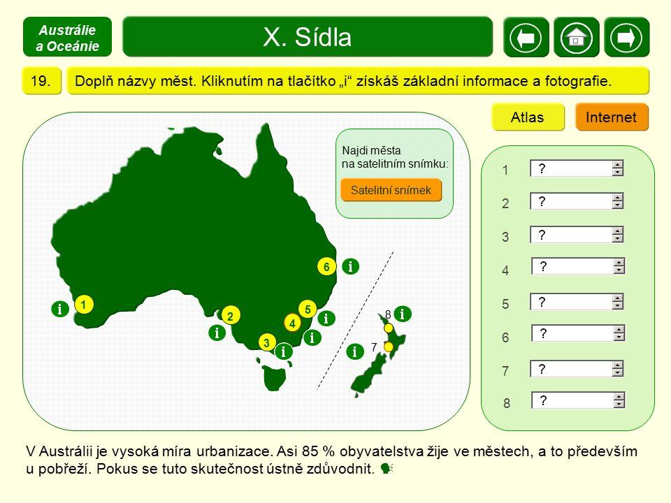 """Austrálie a Oceánie X. Sídla. 19. Doplň názvy měst. Kliknutím na tlačítko """"i získáš základní informace a fotografie."""