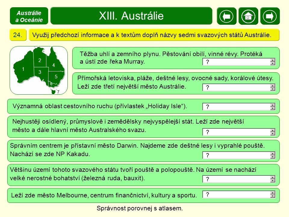 Austrálie a Oceánie XIII. Austrálie. 24. Využij předchozí informace a k textům doplň názvy sedmi svazových států Austrálie.