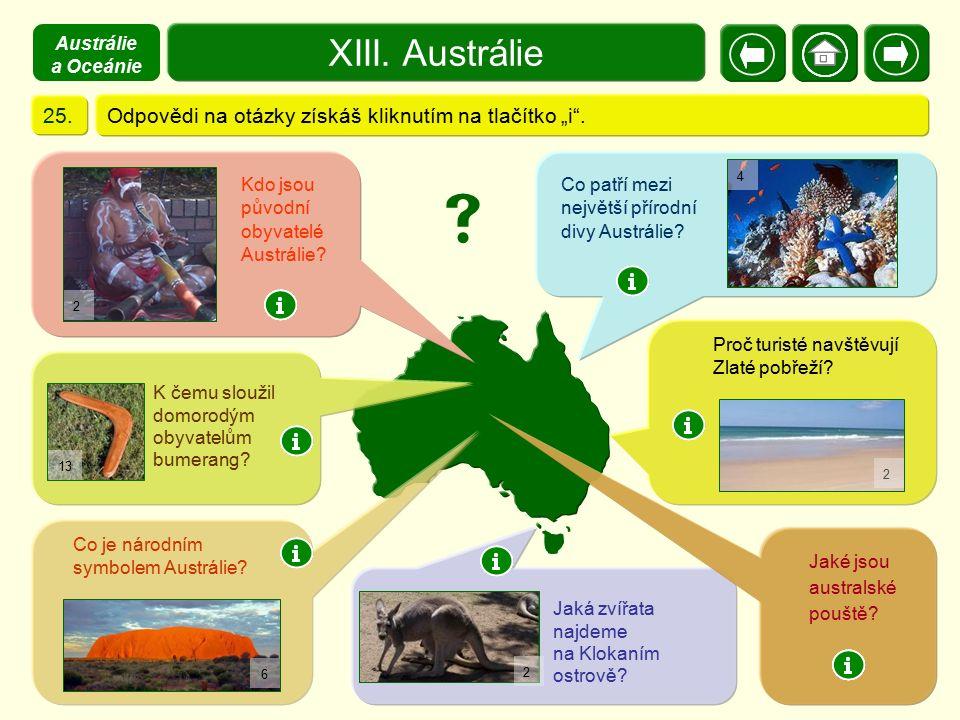 XIII. Austrálie X. Zajímavosti 25.