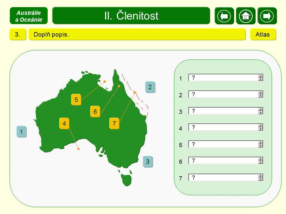 II. Členitost 3. Doplň popis. Atlas 2 1 3 5 6 4 7 Austrálie a Oceánie