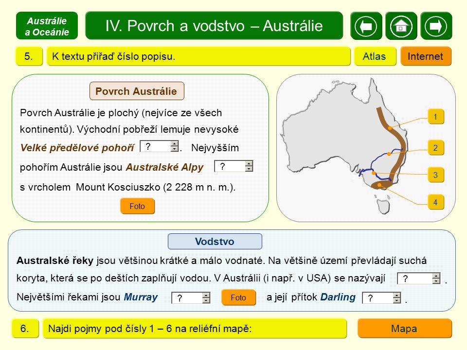 IV. Povrch a vodstvo – Austrálie