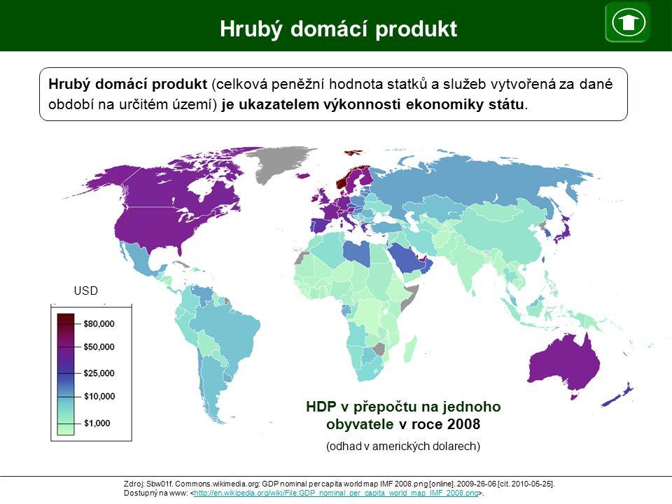HDP v přepočtu na jednoho obyvatele v roce 2008