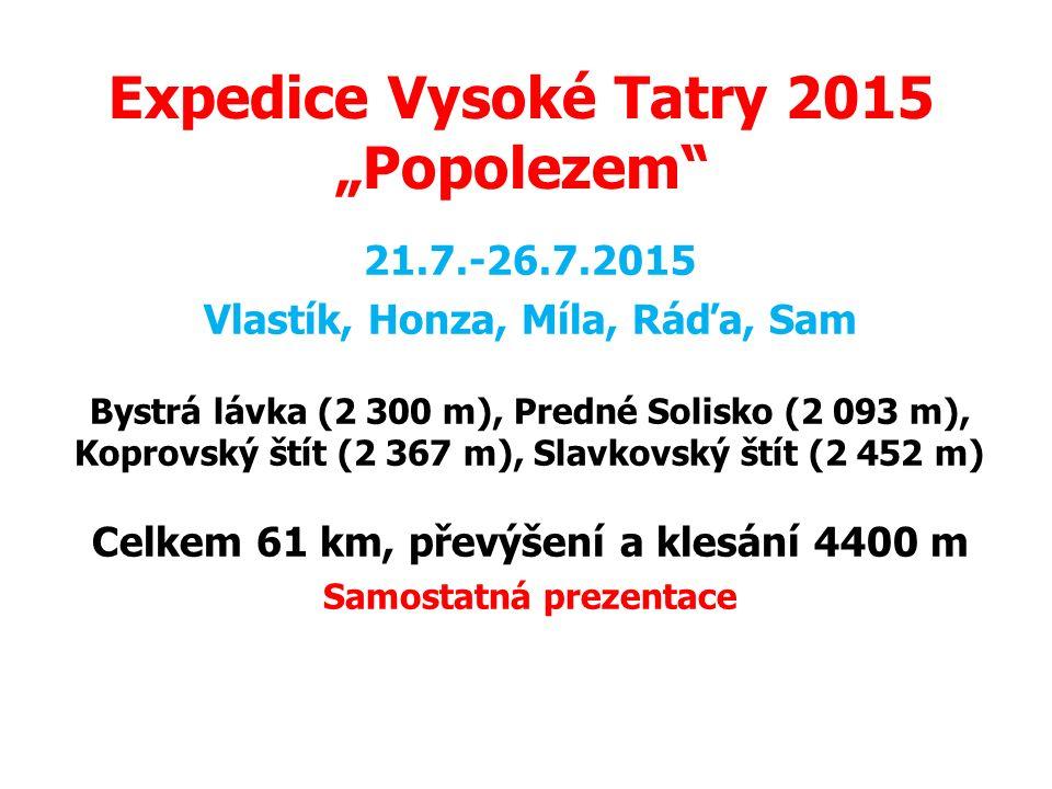 """Expedice Vysoké Tatry 2015 """"Popolezem"""
