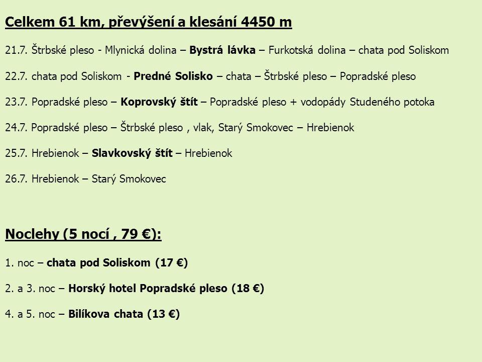 Celkem 61 km, převýšení a klesání 4450 m