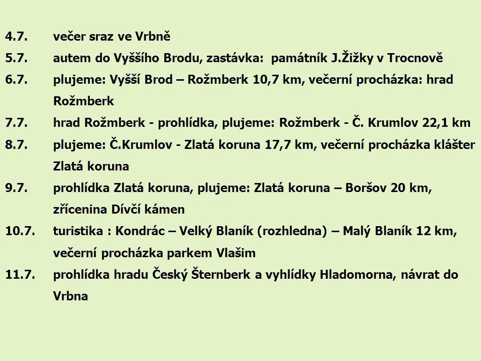 4.7. večer sraz ve Vrbně 5.7. autem do Vyššího Brodu, zastávka: památník J.Žižky v Trocnově.