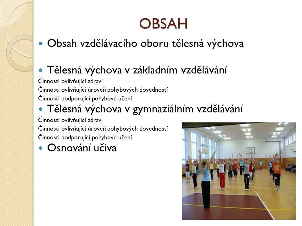 OBSAH Obsah vzdělávacího oboru tělesná výchova