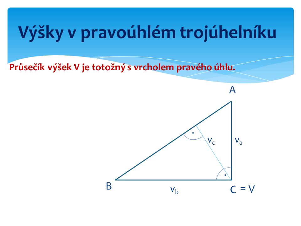 Výšky v pravoúhlém trojúhelníku