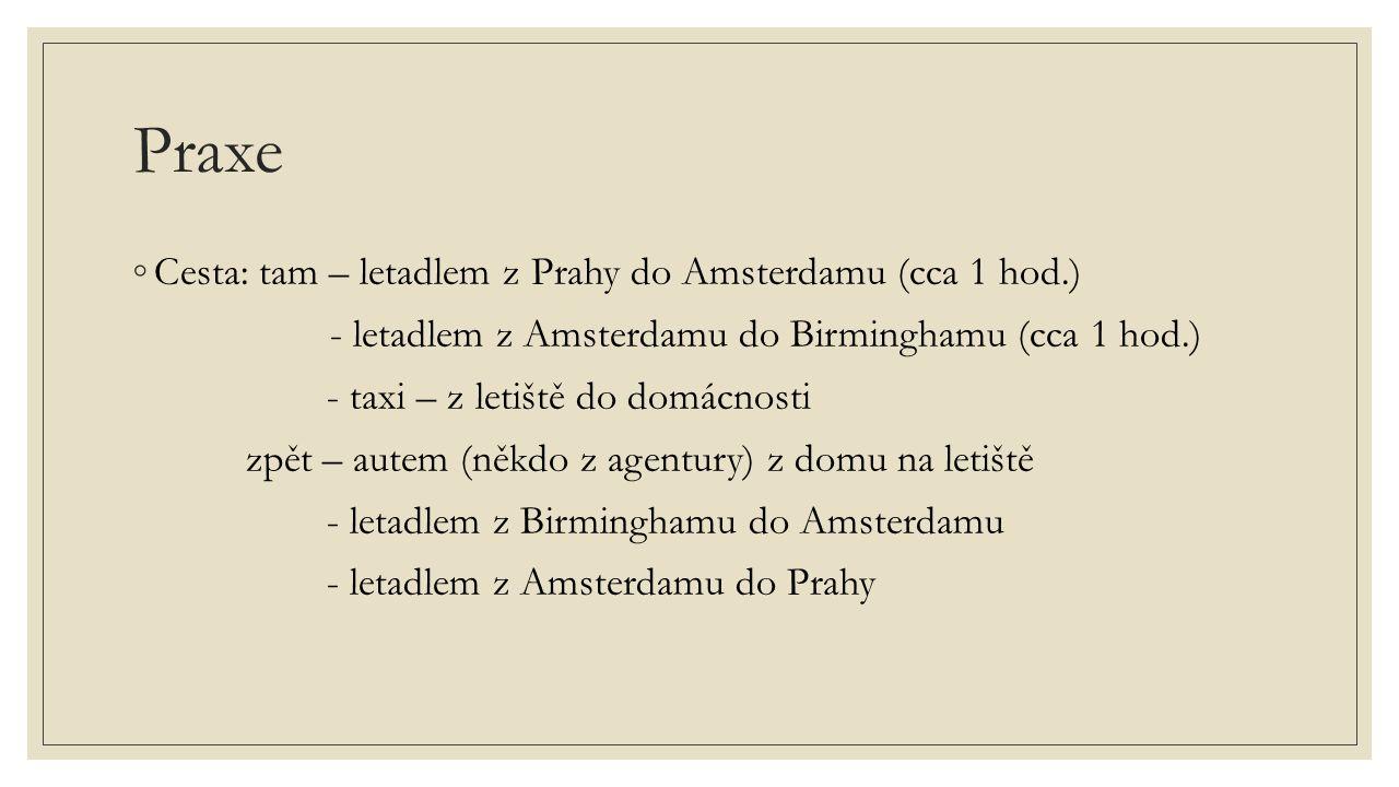 Praxe Cesta: tam – letadlem z Prahy do Amsterdamu (cca 1 hod.)