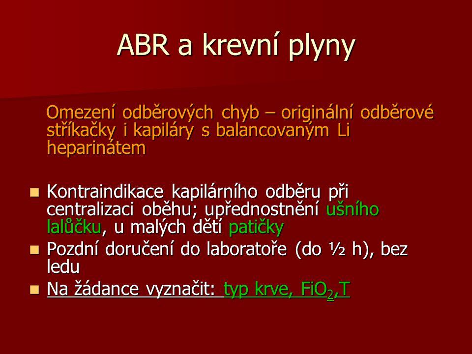 ABR a krevní plyny Omezení odběrových chyb – originální odběrové stříkačky i kapiláry s balancovaným Li heparinátem.