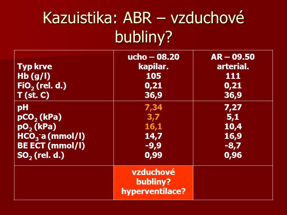 Kazuistika: ABR – vzduchové bubliny