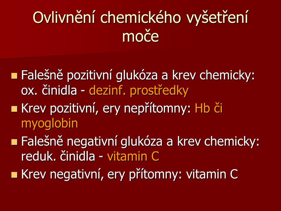 Ovlivnění chemického vyšetření moče