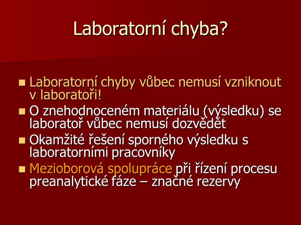 Laboratorní chyba Laboratorní chyby vůbec nemusí vzniknout v laboratoři! O znehodnoceném materiálu (výsledku) se laboratoř vůbec nemusí dozvědět.