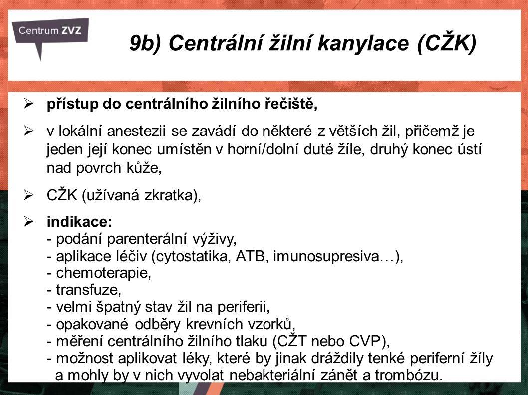 9b) Centrální žilní kanylace (CŽK)