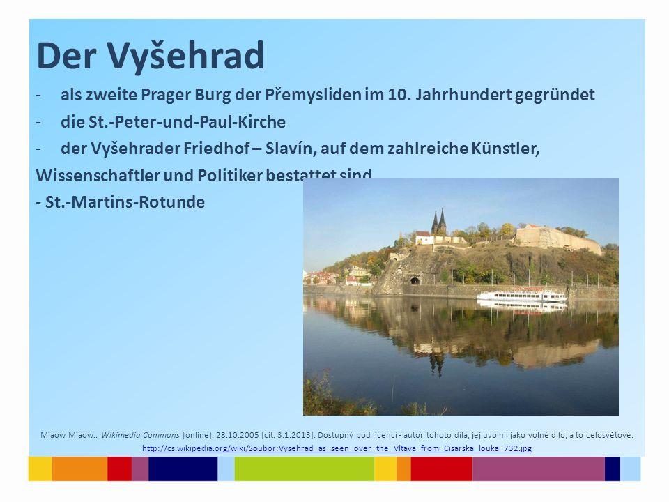Der Vyšehrad als zweite Prager Burg der Přemysliden im 10. Jahrhundert gegründet. die St.-Peter-und-Paul-Kirche.