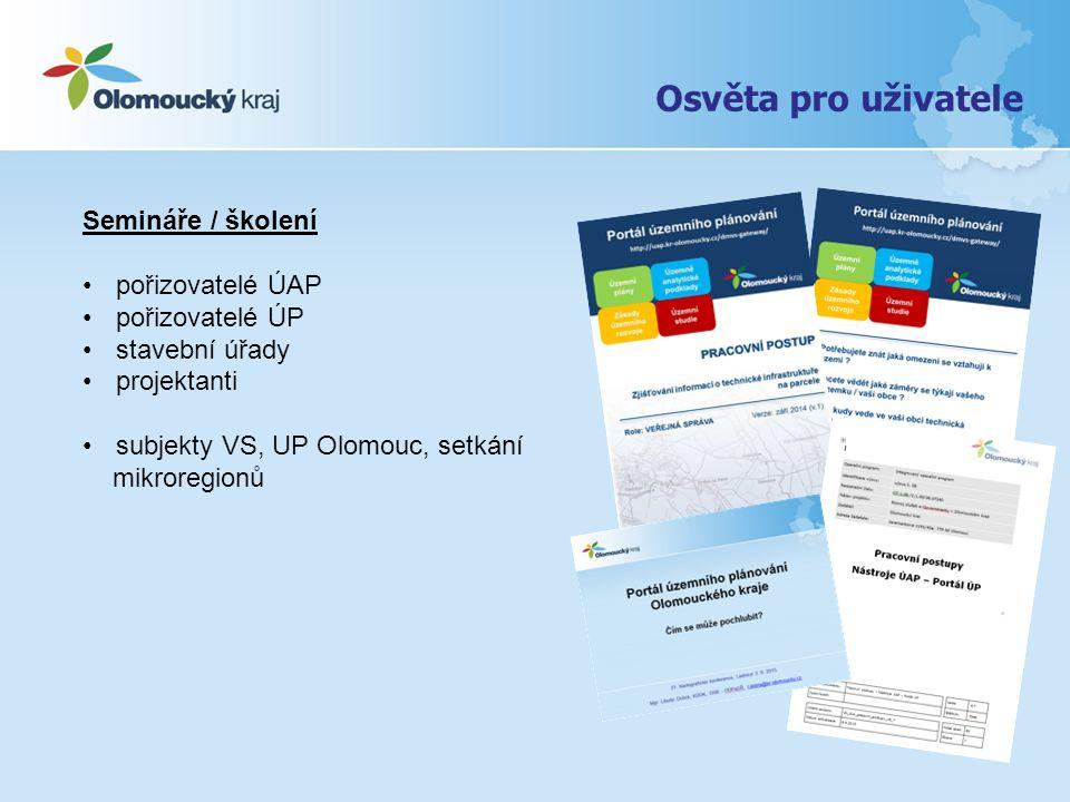 Osvěta pro uživatele Semináře / školení pořizovatelé ÚAP