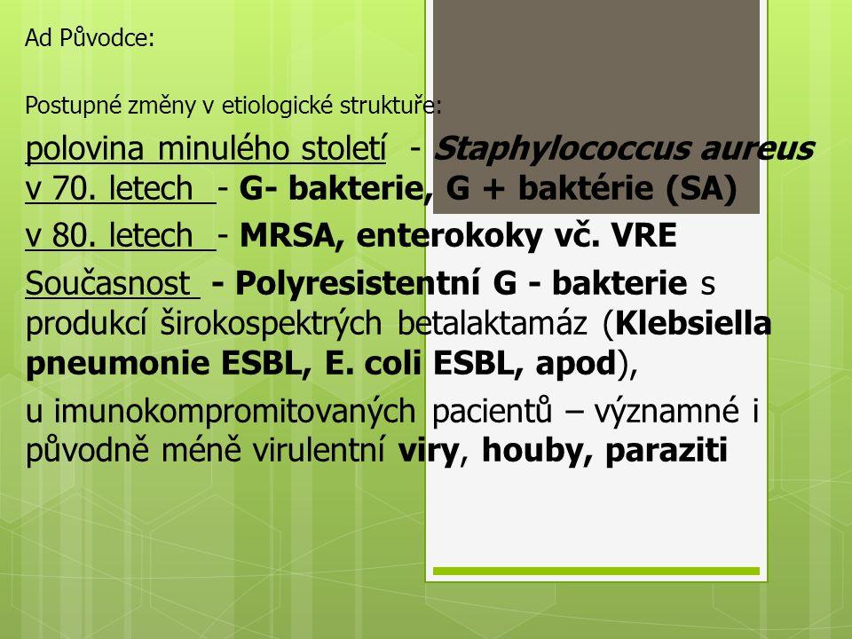 v 80. letech - MRSA, enterokoky vč. VRE