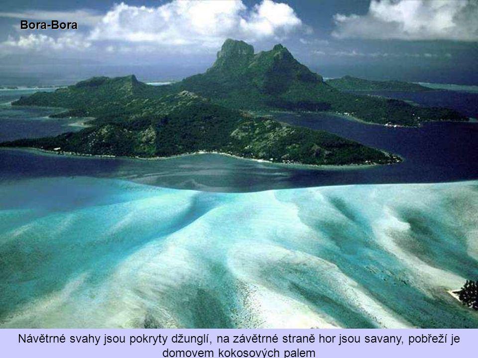 Bora-Bora Návětrné svahy jsou pokryty džunglí, na závětrné straně hor jsou savany, pobřeží je domovem kokosových palem.