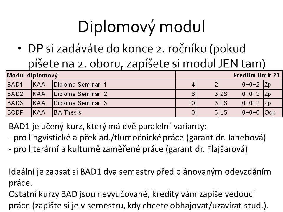 Diplomový modul DP si zadáváte do konce 2. ročníku (pokud píšete na 2. oboru, zapíšete si modul JEN tam)
