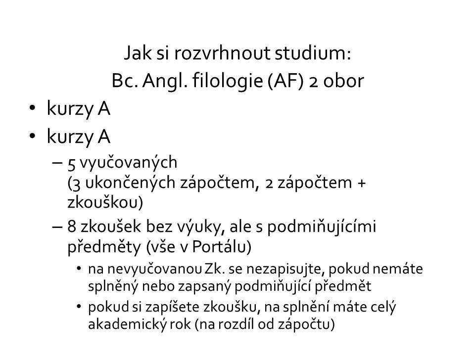 Jak si rozvrhnout studium: Bc. Angl. filologie (AF) 2 obor kurzy A