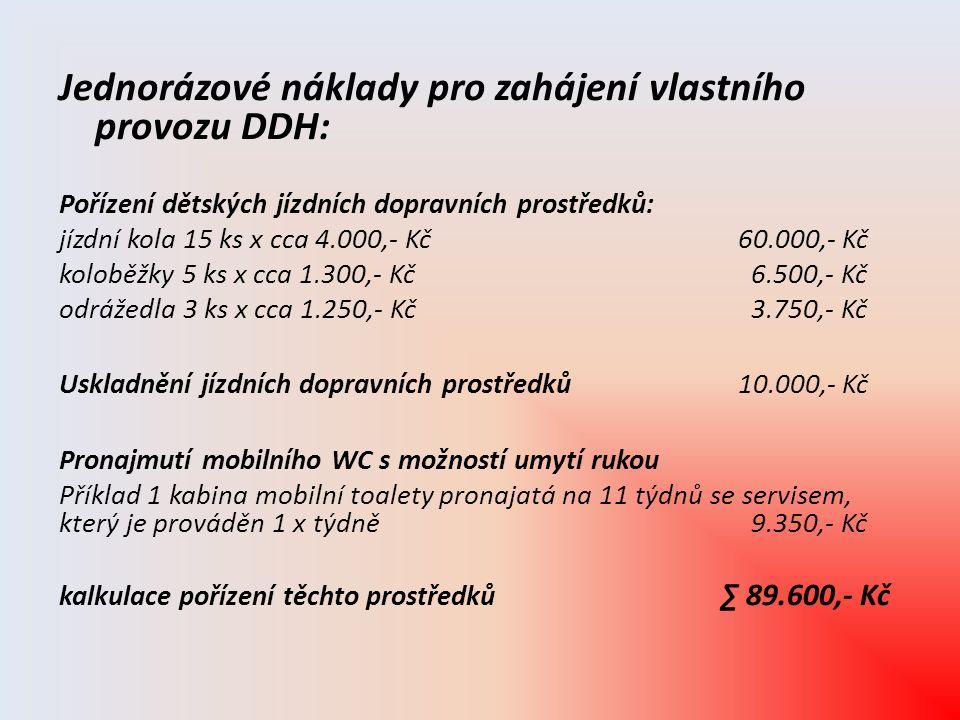 Jednorázové náklady pro zahájení vlastního provozu DDH: