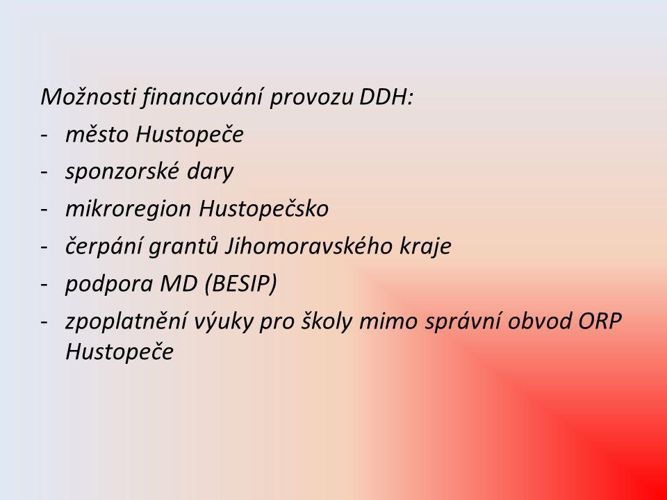 Možnosti financování provozu DDH: